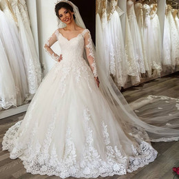 Wholesale Modest Wedding Dresses China - Cheap Wedding Dresses China Robe De Mariee Princesse 2017 V Neck Modest Ball Gown Wedding Dress with Long Sleeves