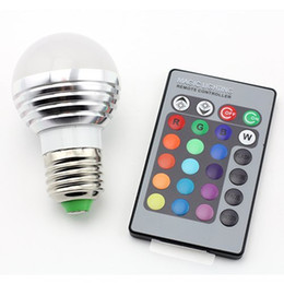 Wholesale Led Lights E14 3w Dimmable - New Sale E27 GU10 E14 3W RGB LED 16 Color Change Light Lamp Bulb Opal Cover Dimmable Led RGB Bulb Light+24 Key Wireless Remote Controller
