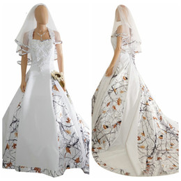 Wholesale Long Camouflage Dress - 2017 New Fashion White Camo Satin Wedding Dress Custom Lace Appliques Bridal Gowns Lace Up Back With Veil Custom Long Camouflage New