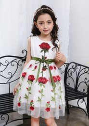Wholesale Straight Gown Styles - 2017 new girls Rose Embroidery Dress children summer princess dress cotton