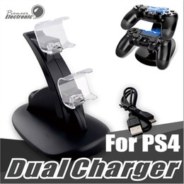 Wholesale Usb Charging Stations - Dual chargers for ps4 xbox one wireless controller 2 usb LED Station charging dock mount stand holder for PS4 gamepad playstation with box