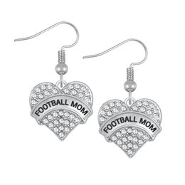 Wholesale Dangling Charm Heart - Fashion Design Crystals Embed FOOTBALL MOM\GRAND MOM Engraved Charm Earrings Heart Drop Earring Women Jewelry Gift For Mom