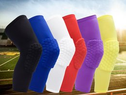 Wholesale Knee Protector Basketball - New Honeycomb Anti-collision Professional Basketball Compression Knee Sleeve Protector Team Sports Training Knee pads Free Shipping