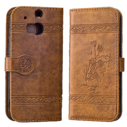 Wholesale M7 Phone Case - Retro Leather Case For HTC One M7 M8 Flip Luxury Flip Wallet Phone Back Cover For HTC M7 M8 Cases With Card Holders