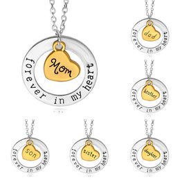 Wholesale heart bff necklaces - BFF Forever In My Heart Necklaces Necklace Letter Family Member Grandpa Uncle Aunt Mom Dad Love Heart pendant for Women Jewelry 161169