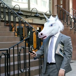 Wholesale Horse Head Mask Wholesale - Unicorn Horse Head Mask Halloween Costume Party Prop Novelty Latex Rubber Creepy