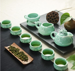 Wholesale Celadon Chinese Tea Set - Chinese Traditional Tea Set Home, 1 Teapot With 6 Teacups, Green Color Teasets,Longquan celadon teacup tea sea tea celadon reli