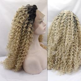 Peluca rubias online-Peluca sintética del frente del cordón Pelucas baratas Afro Kinky Curl Blonde Sintético peluca rizada rizada del pelo para las mujeres negras