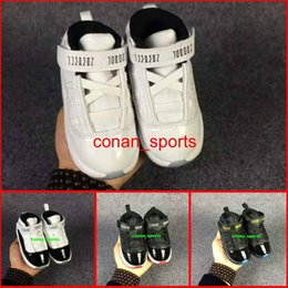 Wholesale Shoes 27 - Baby Shoes Retro 11 Space Jam Sneakers Kids Shoes Boys Girls Athletic Shoes Gamma Blue White Black size 22-27
