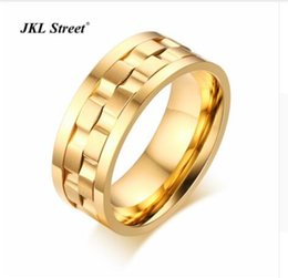 Wholesale gold grid - 24K gold plated Polishing 9MM Bridal Sets Rotatable Grid Men Rings Stainless Steel Gold Color Luxury Men Ring SIZE 6~12