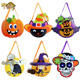 Wholesale Wholesale Baby Gift Baskets - Halloween Cardboard Tote Bag Pumpkin Gift Candy Bag Handbags Baby Kids Funny Candy Basket Bag 6 Styles 1000pcs LJJO2677