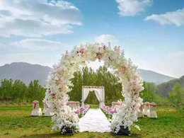 Wholesale Metal Rattan - Luxury wedding Center pieces round shape flower wreath holder flower rattan stand metal crafts Ornament For Wedding Party Backdrop decor