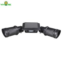 Wholesale Double Garage - Wholesale- New Solar Led Spotlight Outdoor Adjustable Double Light Headed Fixture for Wall Garage Porch Garden Patio Yard Driveway Doorstep