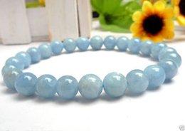 "Wholesale Light Blue Jade Bracelet - New 10mm Light Blue Aquamarine Gemstone Round Beads elastic Bracelet 7.5"""