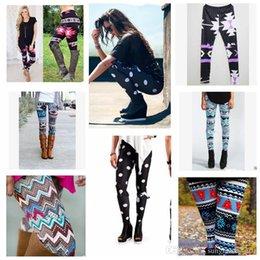 Wholesale Colorful Snowflake Leggings - Women Print Leggings Stretchy Casual Skinny Legging Slim Pencil Pants Trousers Xmas Snowflake Colorful Leggings 21 design LJJK646