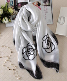Wholesale Shawls Chiffon Plain - New scarves Europe and the United States fashion ink side flowers scarves imitation silk screen wild scarf f sunscreen shawl