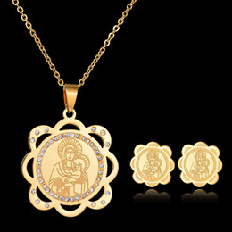 Wholesale Gold Earrings For Kids - Top Quality Fashion Jewelry Stainless Steel Kids Jewelry Sets pendant Necklace And Earring Set For Christmas Gift