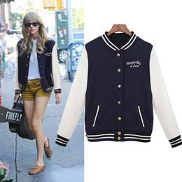 Wholesale Baseball Star Buttons - Wholesale- European Star with Paragraph 2016 Autumn College Wind Baseball Uniform outerwear bomber jacket baseball jacket W1508