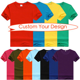 Wholesale Advertising Pictures - 50pcs lot Pure color plain blank short sleeve couples T-shirt custom clothing print picture customized advertising homecoming shirts