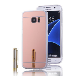 Wholesale Gold Edge Chrome - Electroplated Chrome Mirror Case Cellphone Cover For Samsung Galaxy S7 S7 edge S8 S8 Plus S6 S5 Ultrathin Soft TPU