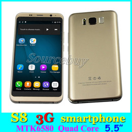 Wholesale Android Os Cell Phones - 3G WCDMA Smartphone Unlock Android 6.0 OS Quad Core Dual SIM 5.5inch Mobile Cell Phones S8 512MB RAM 4GB ROM Blue