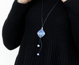 Wholesale Cotton Rope Handmade Necklaces - Handmade original ceramic pendant necklace with a simple and complete set of artistic cotton and linen accessories