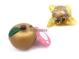 Wholesale Cute Kids New - New 20PCS LOT PU 7cm New Cute golden fruit squishy charm super slow rising   PU mobile phone strap   including the tag Wholesale