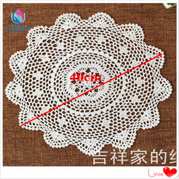 Wholesale Table For Pc - Wholesale- 12 pcs 15.7 inch china latest products vintage weddding crochet lace doily for hot dish on the table as kitchen accessories