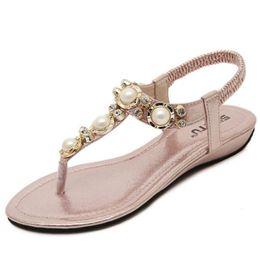 Wholesale Comfortable Gold Sandals - 2017 Woman Sandals & Flip Flops fashion ladies sandals comfortable shoes woman's rhinestone decoration sandal summer bohemia beach shoes