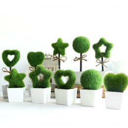 Wholesale Small Potted Artificial Flowers - Wholesale- Furnishings green artificial plant bonsai fashion small artificial flower creative wedding decorations flowers with pot  craft