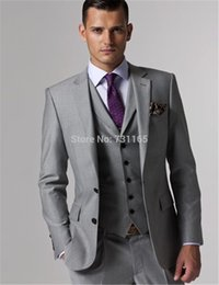 Wholesale Mens Grey Skinny Suit - Wholesale- Custom Made Wedding Tuxedo Grey Suits Retro Groom Suit Mens Jacket 2016 Slim Fit Wedding Suits 3 Piece Grey Suit Set