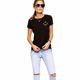 Wholesale Ladies Bell Bottoms - Wholesale- New Women T shirt Print Funny Smile Face Printed Casual Tops Basic Bottoming Short Sleeve Loose Shirt For Lady Tops Tees S-XXL