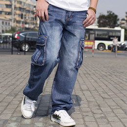 Wholesale Mens Multi Pocket Cargo Pants - Wholesale-2016 Mens Cargo Jeans Pants Multi Pocket Hip Hop Designer Baggy Jeans Mens Loose Fit Casual Trousers Cotton Size 44 46 MB16248