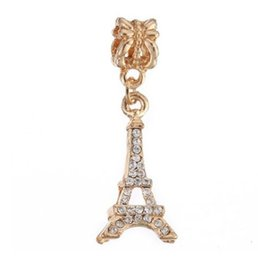 Wholesale Pandora Eiffel - Wholesale 10pcs Gold Diamond Eiffel Tower Pendant Charms Bead Silver Snake Chain European Bracelet Bangle Fit Pandora Bead Charm DIY Jewelry
