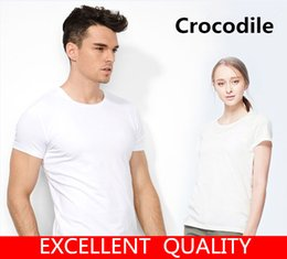 Wholesale Big Size Tee Shirts - Summer 2017 Cotton T-Shirts Men's Crocodile Embroidery Big Size T Shirts Short Sleeve Slim Fit Fashion Tops & Tees Male Women Clothing 5XL
