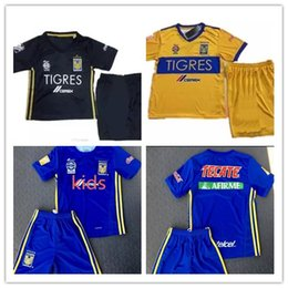 Wholesale Mexico Football Top - top quality 17 18 kids Mexico club Tigres UANL home Tigres UANL soccer Jersey Kits 2017 GIGNAC GUERRON 3RD Away black child Football Shirts