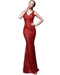 Wholesale Transparent Hot Evening Dresses - Hot Selling 2017 Fashion Evening Dress Mermaid Sequined Long Dress Transparent Back Sleeveless Style Competitive Price