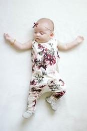 Wholesale Toddler Girls Suspenders - 2017 News whosale baby girl summer ROSE flower print rompers infant toddlers suspender rompers newborn kids soft cotton bodysuit