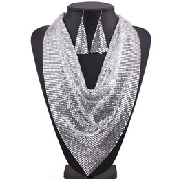 Wholesale Triangular Metal Necklace - Metal Sheets Triangular Towel Necklace and Earrings White Gold Black Color Jewelry Set by Hcish Jewelry N5640