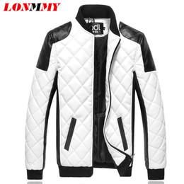 Wholesale Diamond Lattice Jacket - Wholesale- LONMMY 2016 winter jacket men jaqueta masculina Diamond lattice leather jackets cotton veste homme mens jackets and coats