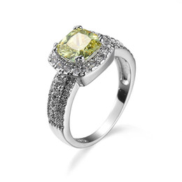 Wholesale Womens Diamond Engagement Rings - 2017 Brand Gemstone Rings 18K Real Gold Plated Statement Zircon Engagement Rings Diamond Womens Silver Ring