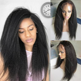 Wholesale Kinky Straight Hairstyles - Stock Kinky Straight Lace Front Wig 1B Virgin Human Hair Brazilian Full Lace Wigs for Black Women Free Shipping