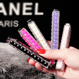 Wholesale Gas Crystals - Wholesale- Slim Diamond women's lipstick lighter,Rechargeable butane gas lighter,gift