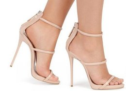 Wholesale Gold Gladiator High Heels Boots - Pop Fashion Sexy Open Toe Summer Dress Sandal For Women Nude Ankle Wrap Caged Boots Party Shoes Metallic Triple Strap Heeled Sandals