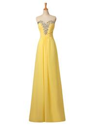 Wholesale Простой элегантный желтый Пром платья ZAHY реальная картина милая бисером шифон vestidos вечерние платья вечернее платье