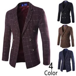 Wholesale Tartan Suit Men - European style high-end men's fashion tartan wool double-breasted suit jacket Casual men Blazer cost free shipping