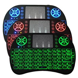 Wholesale tv oem android - Colorful Mini Rii i8 backlight 2.4GHZ Wireless Keyboard Air Fly Mouse Remote Control Touchpad Handheld for Android TV BOX
