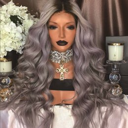 Wholesale Grey Lace Front Wigs - Free Shipping new long heat resistant hair black top grey two tone ombre color wavy glueless synthetic lace front wig