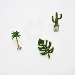 Wholesale Cactus Trees - Wholesale- Free shipping Coconut Tree Cactus Leaf Metal Enamel Brooch Pins