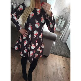 Wholesale Elegant Winter Clothing For Women - 2017 Dresses For Womens With Print Christmas Vestidos Winter Dresses Plus Size Women Clothing Casual Dress Party Elegant A-Line Clothes